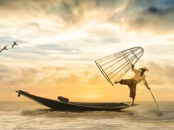 pescatore acrobatico sud est asiatico
